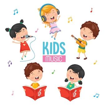 Векторная иллюстрация детей, играющих музыку