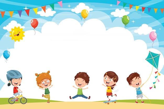 外で遊ぶ子供のベクトル図