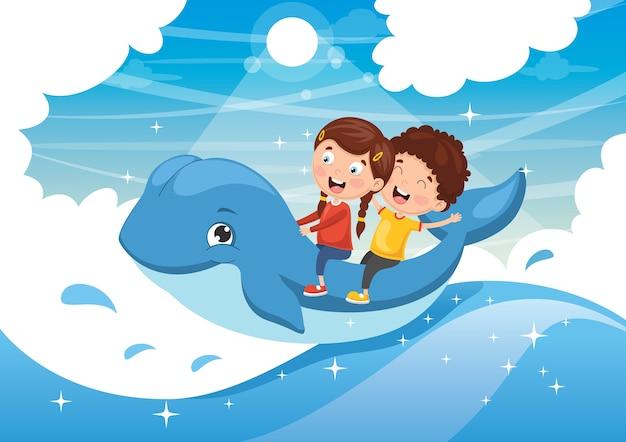 キッズライディングクジラのベクトル図