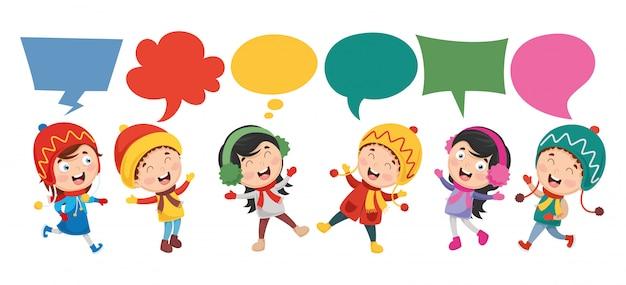 Векторная иллюстрация детей речи пузырь