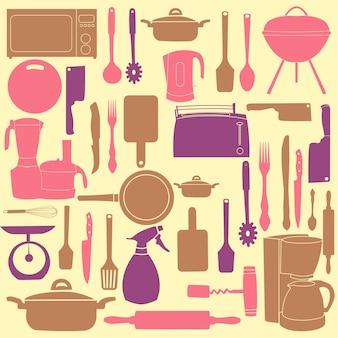 Векторная иллюстрация кухонных принадлежностей для приготовления пищи