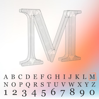 흰색 바탕에 편지 l의 벡터 일러스트 레이 션. 메쉬 다각형의 글꼴입니다. 와이어 프레임 컨투어 알파벳입니다.