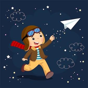 Векторная иллюстрация маленького мальчика в шлеме и мечтает стать летчиком во время полета на бумажном самолетике