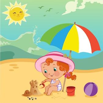 Векторная иллюстрация маленькой девочки, строящей замок из песка на пляже