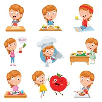 Векторная иллюстрация маленькая девочка, едят