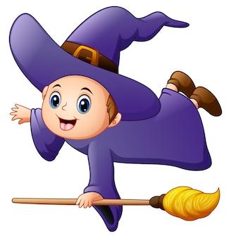 Векторная иллюстрация маленькая ведьма, летающая с метлой
