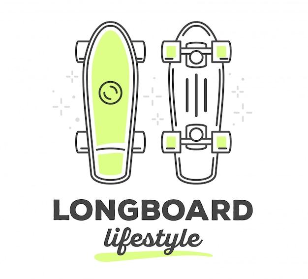 白い背景上のテキストとロングボードのベクトルイラスト。スポーツライフスタイル