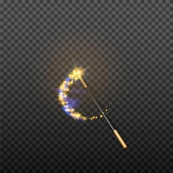透明な背景に分離された魔法の杖のベクトル図