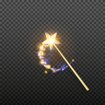 Векторная иллюстрация волшебной палочки, изолированные на прозрачном фоне