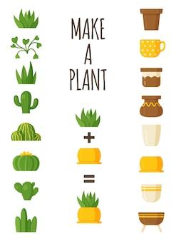 식물을 만드는 벡터 그림입니다. 아름다운 꽃병과 머그에 있는 만화 집 식물. 엽서용 식물학 손으로 그린 삽화