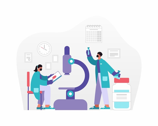 Векторная иллюстрация мужчины и женщины в масках, анализирующих данные и образцы возле микроскопа при создании лекарства в современной лаборатории