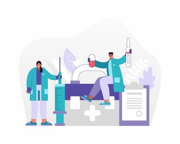 病院での作業中にバッグやクリップボードの近くにさまざまな薬を示す医療制服の男性と女性のベクトル図