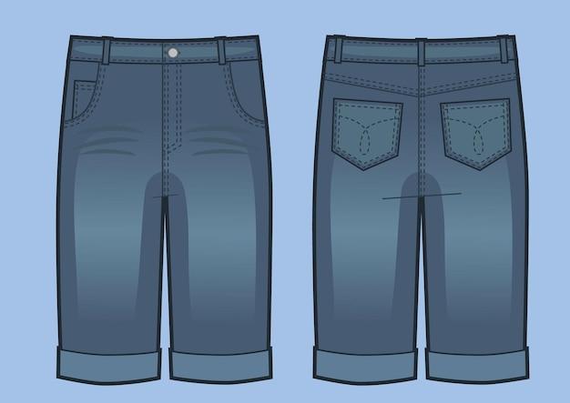 Векторная иллюстрация мужские синие джинсовые шорты. вид спереди и сзади. модная иллюстрация