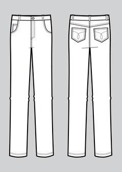 男のジーンズのベクトルイラスト。正面図と背面図。レンプレート
