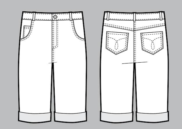男のジーンズのショートパンツのベクトルイラスト。正面図と背面図。レンプレート