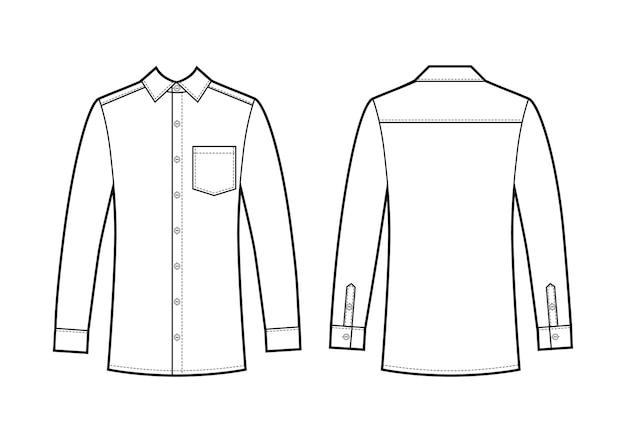 Векторная иллюстрация мужской деловой рубашки. вид спереди и сзади