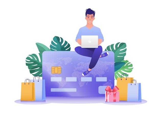 온라인 쇼핑 신용 카드 위에 앉아 컴퓨터 노트북을 사용하는 남자의 벡터 그림