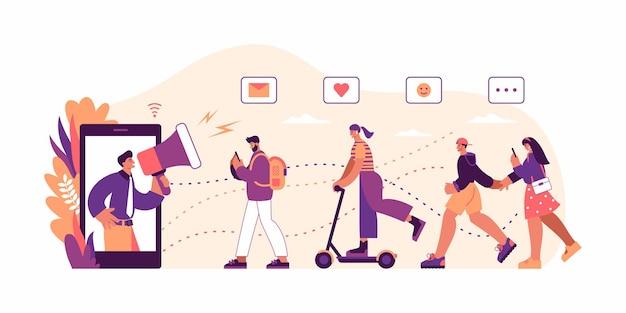 Векторная иллюстрация человека с мегафоном, делающего объявление с экрана смартфона и приглашающего новых клиентов через рекламную кампанию в социальных сетях