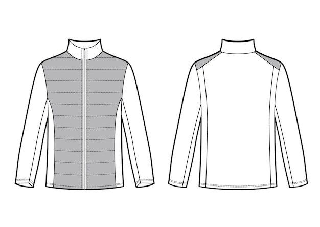 Векторная иллюстрация мужской куртки спортивной одежды спереди и сзади просмотров черно-белый рисунок