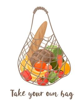 Векторная иллюстрация сетчатой эко-сумки с овощами, изолированной на белом фоне, современная хозяйственная сумка со свежими органическими продуктами с местного рынка.