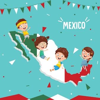 Векторная иллюстрация флага мексики и детей