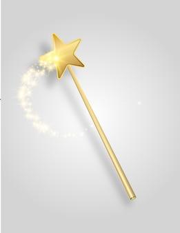 Векторная иллюстрация чудо волшебной палочки с блеском, изолированной на прозрачном фоне, выстрел волшебной палочки, подвешенной в воздухе с падающей тенью и обтравочным контуром