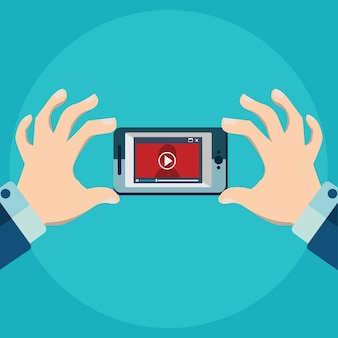Vector illustration of mobile app for video flat style video player online education.