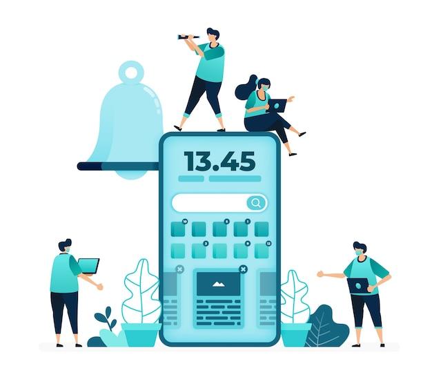 디지털 시계와 미리 알림 모바일 홈 화면의 벡터 일러스트 레이 션. 모바일 앱의 벨 알림. 여성과 남성 노동자. 웹 사이트, 웹, 랜딩 페이지, 앱, ui ux, 포스터, 전단지 용으로 설계