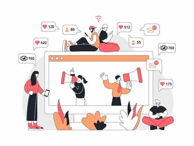 Векторная иллюстрация современных мужчин и женщин, просматривающих социальные сети возле монитора с менеджерами с мегафонами, делающими объявления во время рекламной кампании