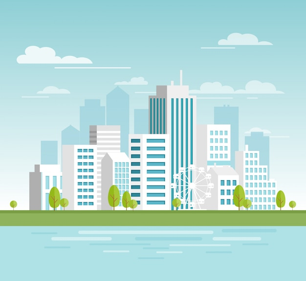 白い高層ビルとモダンな都市景観、あなたのデザイン、バナーの大きな近代的な建物とエコシティのベクトルイラスト。フラットな漫画のスタイルの都市。