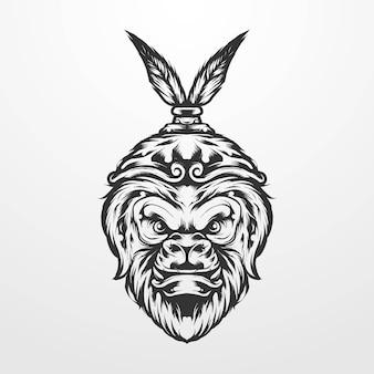 ロイヤルクラウンヴィンテージクラシック、古いスタイルのモノクロで猿王のベクトルイラスト。 tシャツ、プリント、ロゴ、その他のアパレル製品に適しています