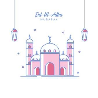 Eid-ul-adhamubarakコンセプトの白い背景に提灯がぶら下がっているモスクのベクトルイラスト。