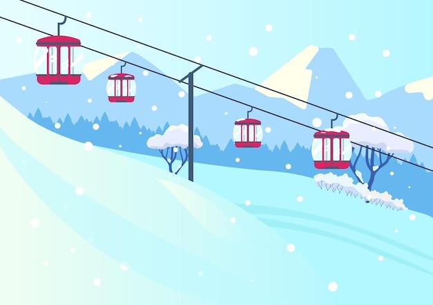 Векторная иллюстрация горного склона пейзажа с канатной дорогой в плоском стиле. снежные горы с подъемником.