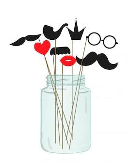 口ひげ、メガネ、唇、ハート、クラウン、ガラスの瓶に棒のパイプのベクトルイラスト。
