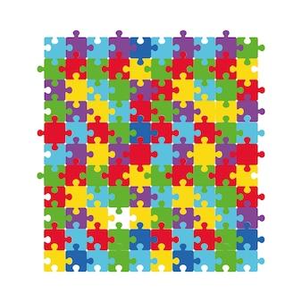 色とりどりのジグソーパズルのベクトルイラスト。自閉症のシンボルの無地の背景