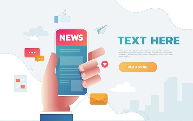 スマートフォン画面上のニュースアプリのベクトルイラスト。スマートフォンでニュースをオンラインで読む