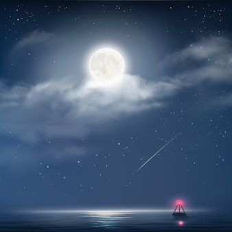 星、月とビーコンと海と夜曇り空のベクトルイラスト