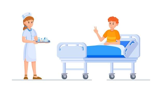 看護師と患者のベクトルイラスト。患者を助ける看護師の概念。人々を助ける