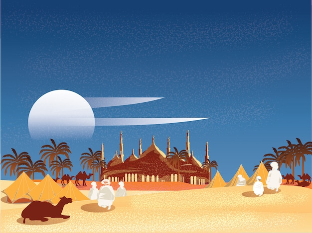 Векторная иллюстрация оазис в арабской пустыне. бедуин или путешественники исламские в египте