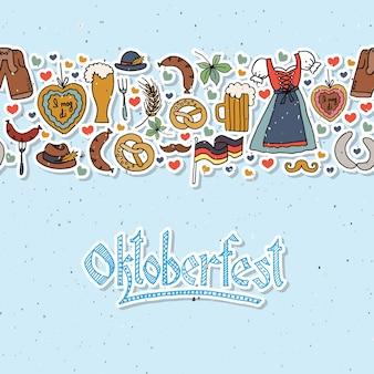 Векторная иллюстрация элементов октоберфеста устанавливает дизайн октоберфест на текстурированном фоне eps 10
