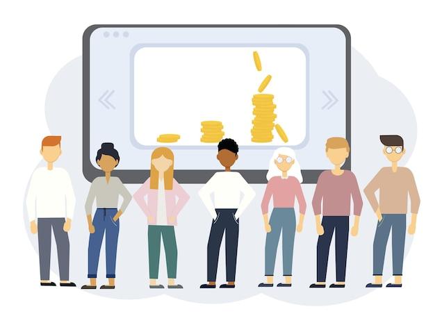 さまざまな人々とのオンライン教育のベクトルイラスト。お金を稼ぐトレーニング