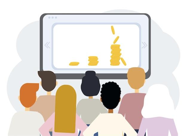 ラップトップモニターとさまざまな人々の背中を使ったオンライン教育のベクトルイラスト。お金を稼ぐトレーニング