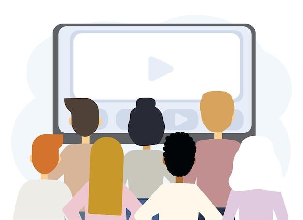 ラップトップモニターとさまざまな人々の背中とオンライン教育のベクトル図