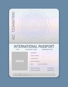 開いているパスポートテンプレートのベクターイラストです。旅行のコンセプト、パスポートのサンプルのドキュメント。
