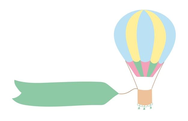 하늘에 개요 열기구의 벡터 일러스트 레이 션. 고립 된 손으로 그린 아이콘