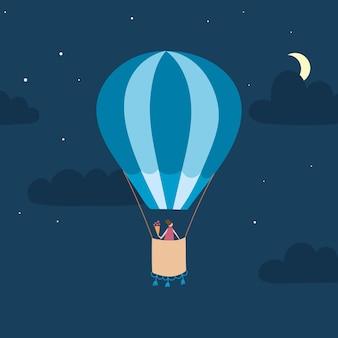 空の概要熱気球のベクトルイラスト。孤立した手描きのアイコン
