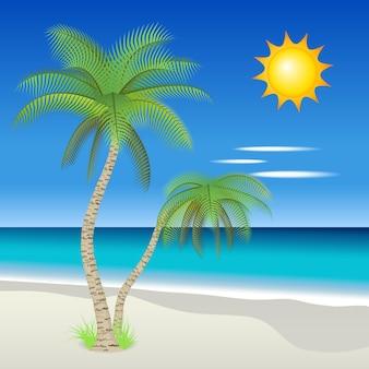 Векторная иллюстрация пальм на тропическом пляже