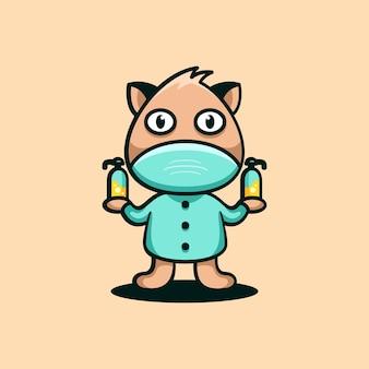 パンダの動物のキャラクターのマスコットのロゴデザインのベクトル図