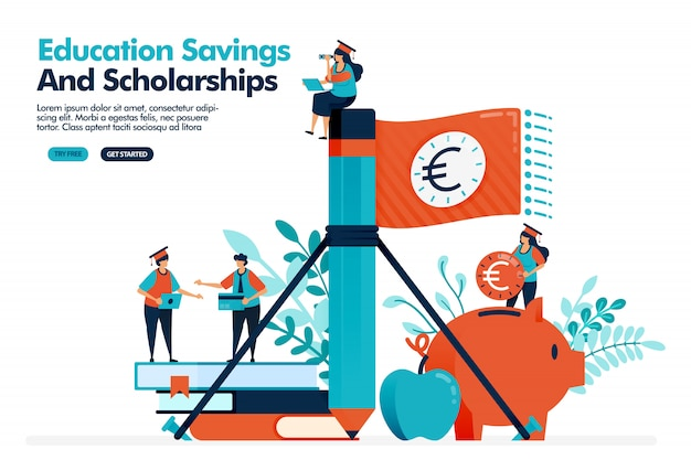人々のベクトルイラストは、鉛筆でお金の旗を振る。教育費のために貯金箱にお金を貯めます。教育奨学金。