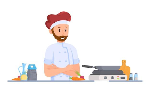ピセオラクックのベクトルイラスト。男が食事を作っている。晩ごはん。鍋で焼いたり煮込んだりします。